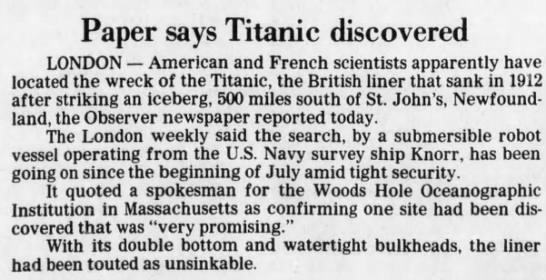 Paper says Titanic discovered -