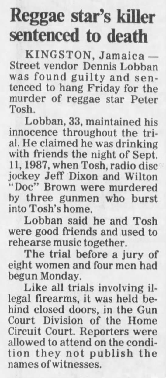 Reggae star Peter Tosh's killer sentenced to death (1988) -