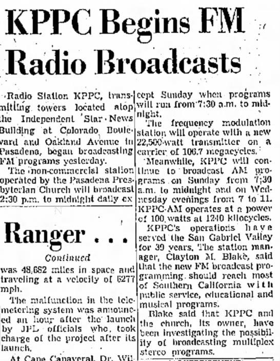 KPPC Begins FM Radio Broadcasts -