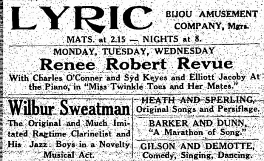 GILSON AND DEMOTTE - Comedy, Singing, Dancing LYRIC Theater, Fitchburg Mass. -