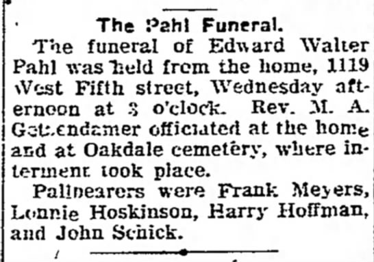 Funeral for Edward Walter Pahl - Davenport Democrat & Leader (5 April 1923 page 9) -