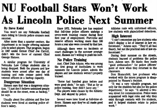 1976 police summer jobs ended -
