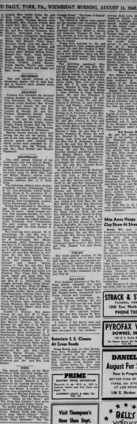 Ness, article about family reunion, dated 14 August 1940 -