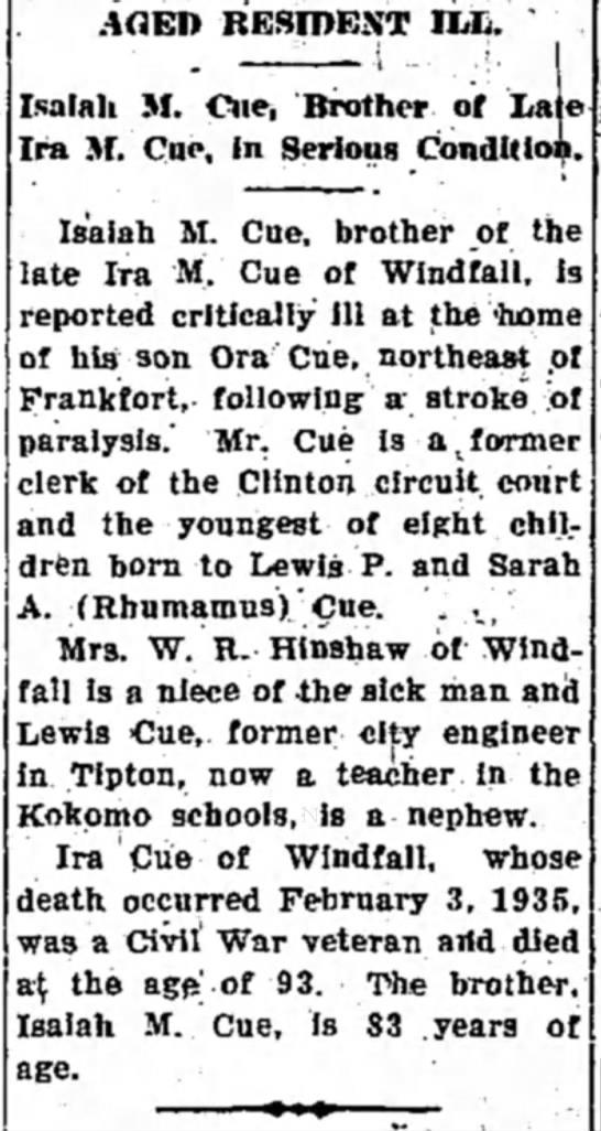 Isaiah M Cue Ill - Tipton Tribune - 23 May 1939 -