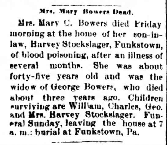 Mary Bowers ObitHerald and Torch LightHagerstown, MD 15 Mar 1894 -