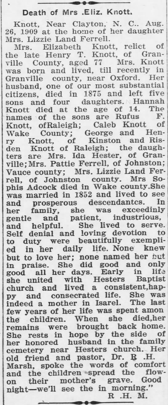 Elizabeth Knott Death (10 Sep 1909, Oxford Public Ledger, Oxford, NC) -