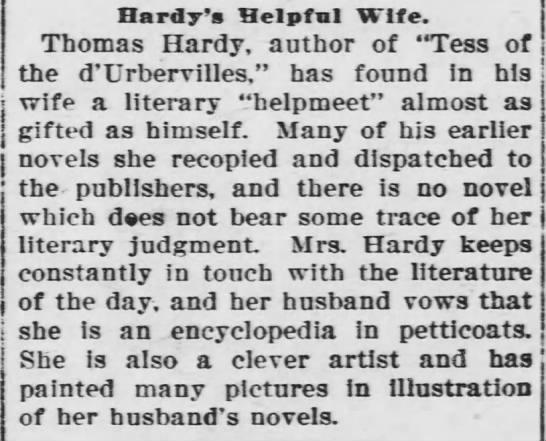 """Hardy's Helpful Wife """"an encyclopedia in petticoats"""" - Hardy's Helpful Wife. Thomas Hardy, author of..."""