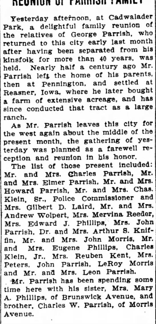Reunion of Parrish Family, 1909.09.09 -