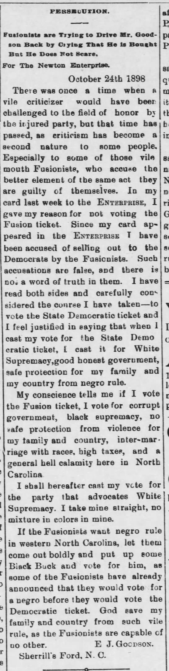 Goodson, E.J. - letter to The Newton Enterprise 28 Oct 1898 -