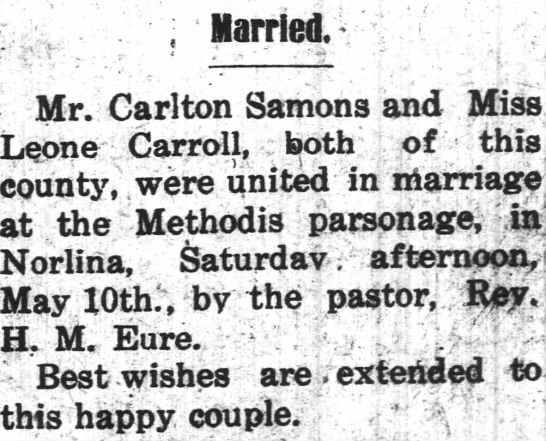 Leone Carroll Sammons marriage announcement, 16 May, 1924 -