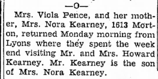 Viola Tyra Kearney Pence Nora D Kimler Kearney Howard Grove Kearney -