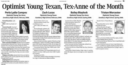 Optimist Young Texan of the Month, 2008 -