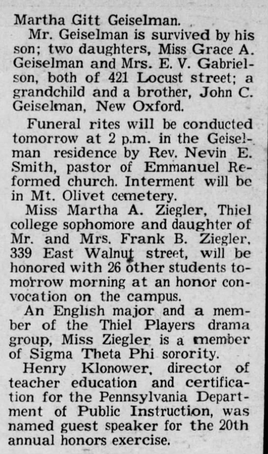 Geiselman, Charles; obit pt 2; The Gazette and Daily, Nov. 13, 1947 pg 23 -