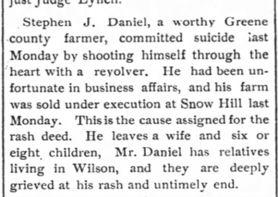 Stephen J. Daniel suicide -