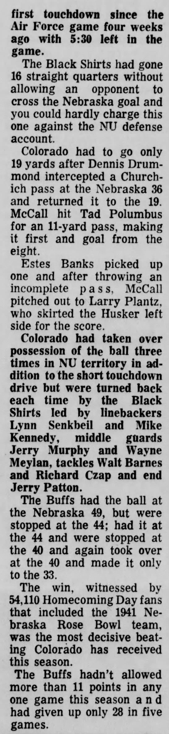 1965 Nebraska-Colorado football, part 3 -