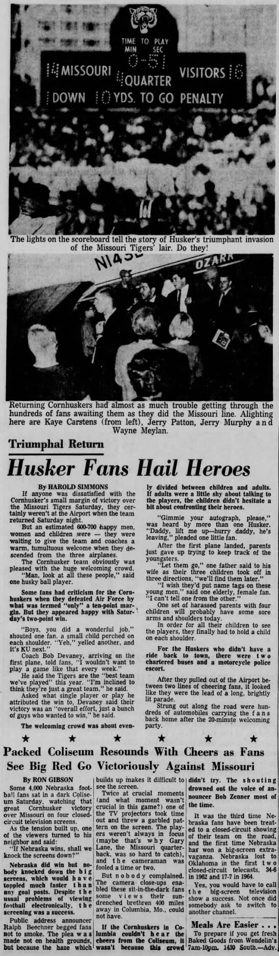 1965 Nebraska-Missouri football, page one coverage -