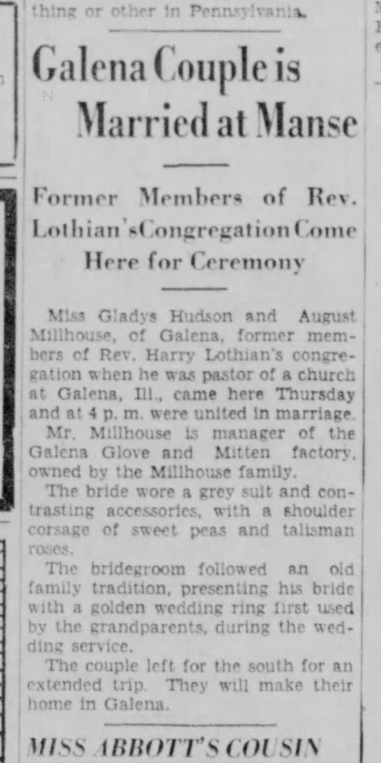 Marriage of August Millhouse of Galena, IL and Gladys Hudson 1937 -