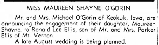 O'Gorin, Maureen-wedding announcement -