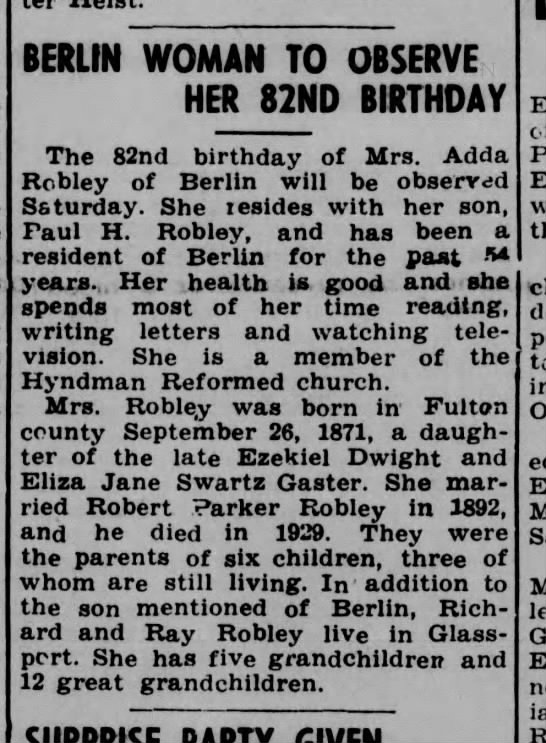 Mrs. Robert P. Robley-Somerset Daily American PA-25 Sep 1953 p5 -