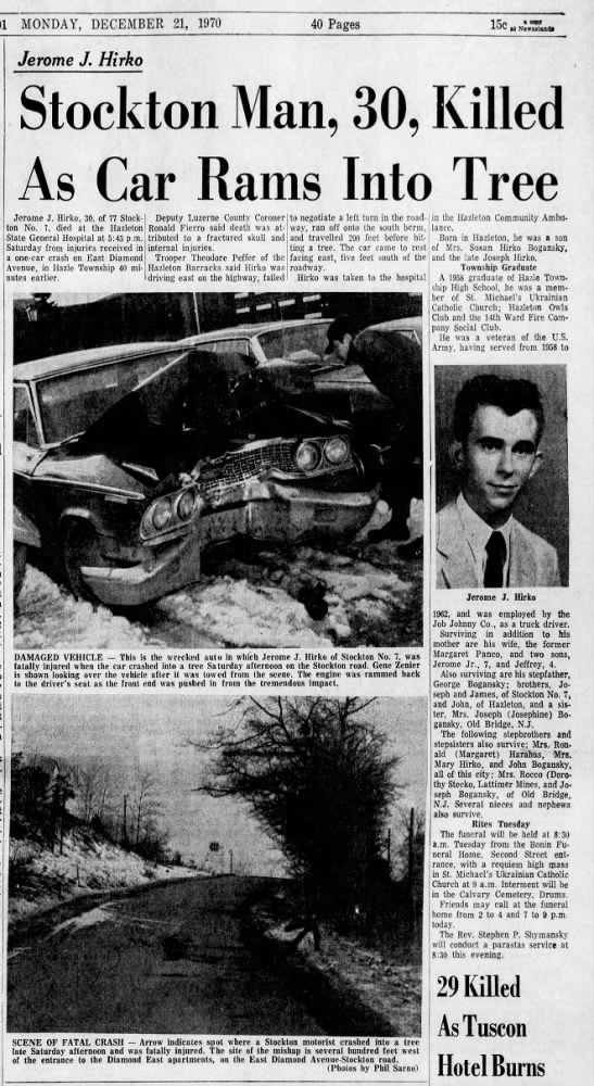 Jerome J  Hirko Died In Car Crash - Newspapers com
