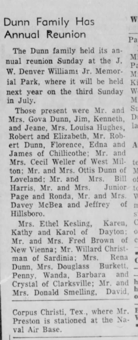 Mention of Mrs. Ethel Kesling, OH  1967 -