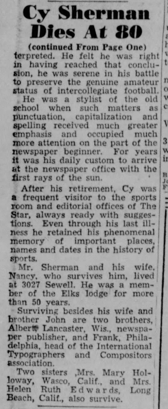 1951 Cy Sherman death, part 2 -