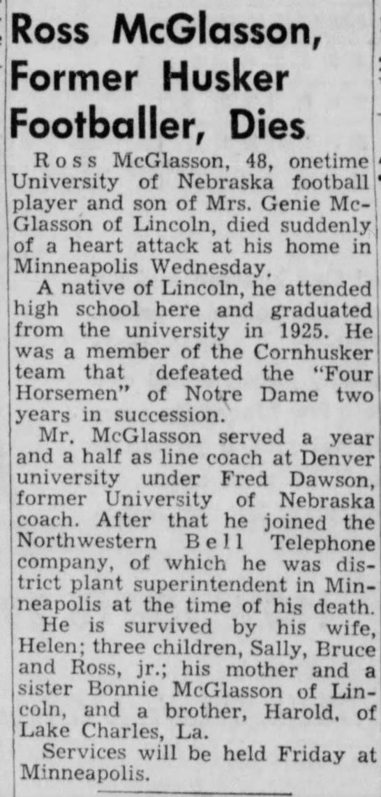 1951 Ross McGlasson death -