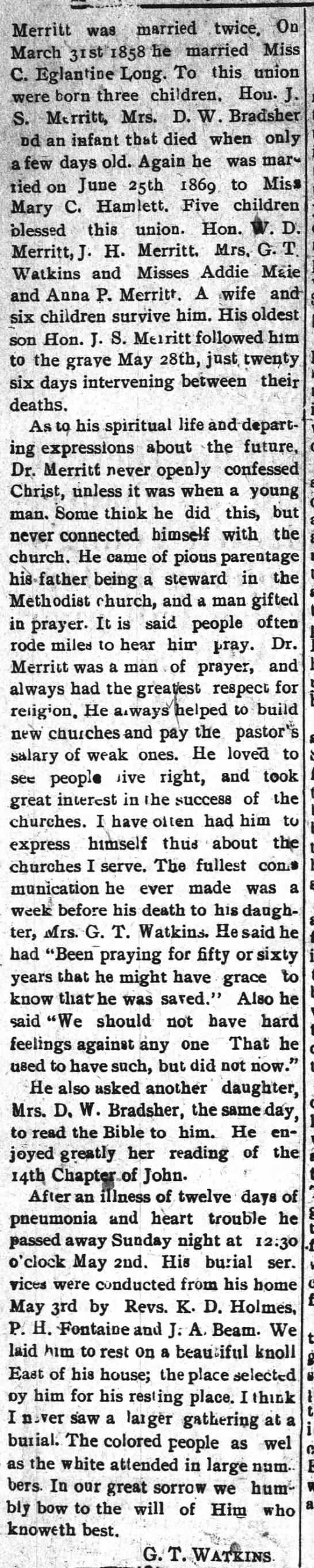 Dr. William Merritt (22 Jun 1904, The Roxboro Courier, Roxboro, NC) Part 2 -