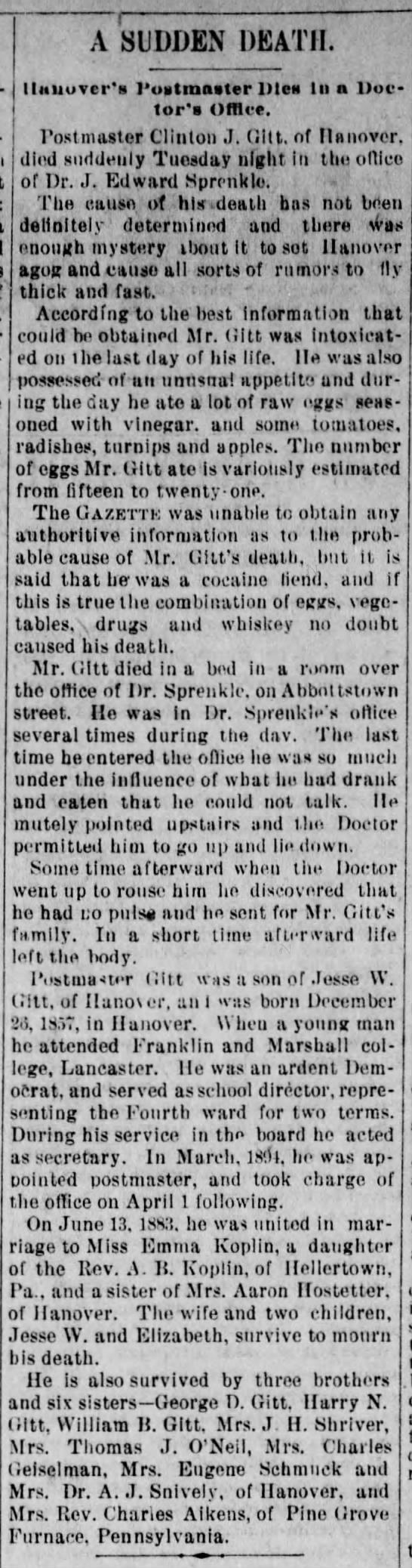 Gitt, Clinton; obit; The Semi-Weekly Gazette, Feb. 15, 1896 pg 2 -