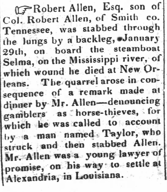 Robert Allen Jr death 1836 - (TRobert Allen, Esq. son of Dol. Robert Allen,...