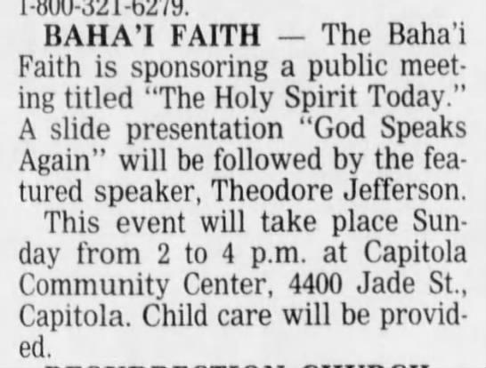 Baha'i Theodore Jefferson talks at meeting -