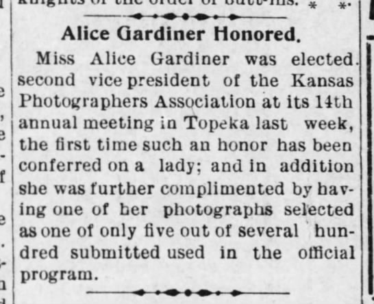 Alice Gardiner - elected second vice-president of Kansas Photographers Association -