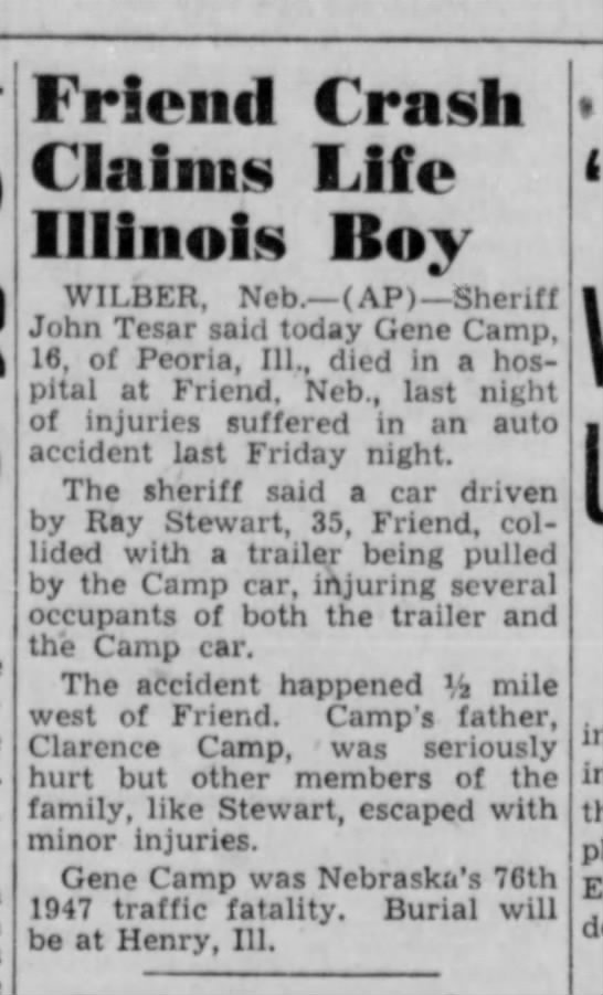 Lincoln (NE) Star, 21 Apr 1947, Mon , p  1, Ray Stewart Accident
