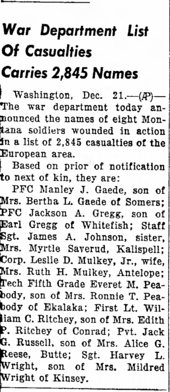 Wounding of Lt. William C. Ritchey, The Independent Record, Helena, MT Dec. 21, 1944 -