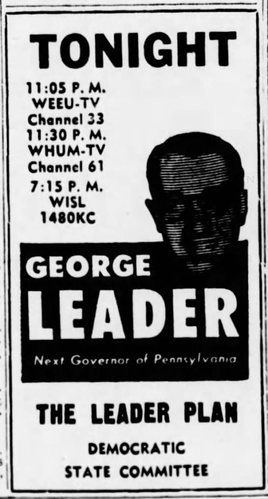 WISL 9-28-54 George Leader Ad -