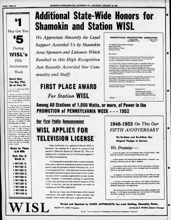 WISL 2-24-53 TV Application Full Page Ad -