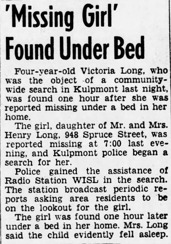WISL 2-17-54 Missing Girl found -