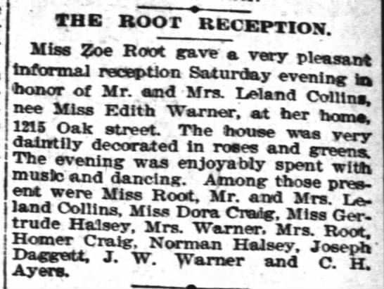 Zoe Root gives reception for Edith Warner (Collins) -