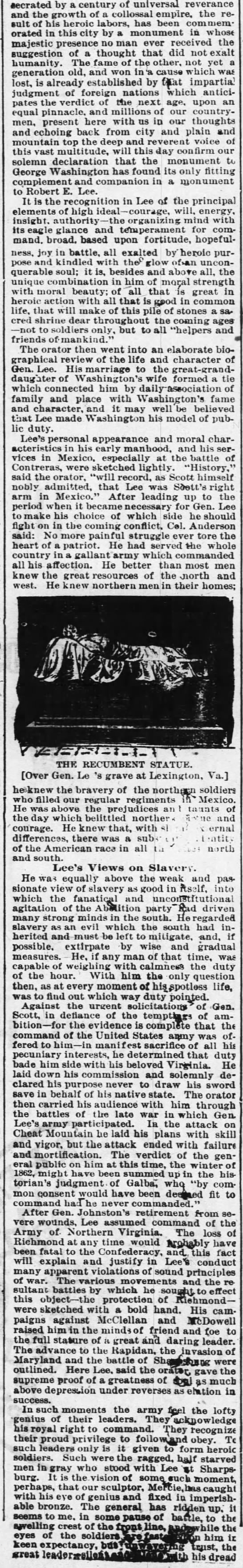On occasion of unveiling of statue in Richmond - Danville Bee - June 5, 1890 -