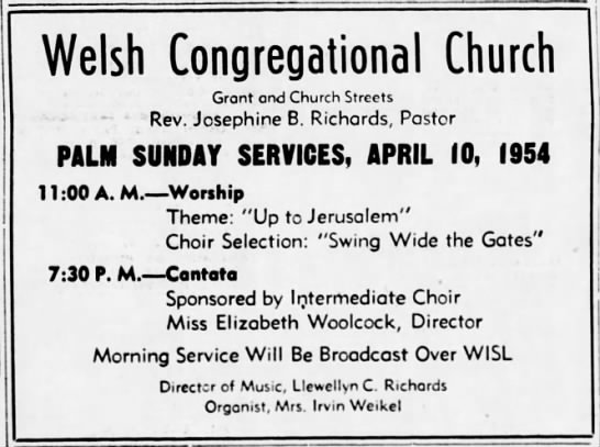 WISL 4-10-54 Welsh Palm Sunday Ad -