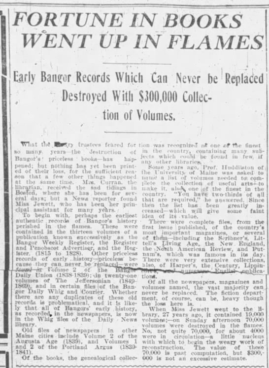 Early Bangor records and genealogies destroyed in the Great Fire of 1911 -