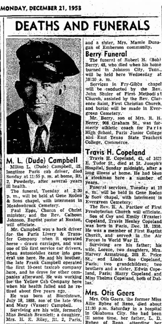Milton L. Campbell Obituary, Paris News 21 Dec 1953 p.5  -