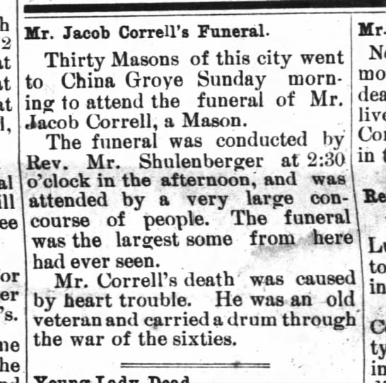 Jacob Correll - Confederate -