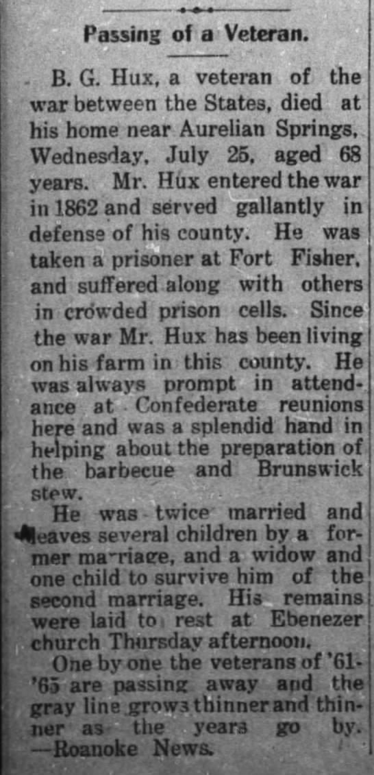 Benjamin Gardner Hux Obituary -