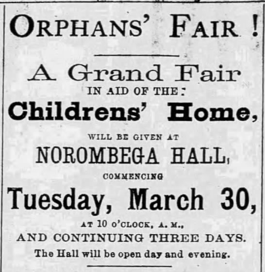 Fundraiser for the Children's Home - 1869 -
