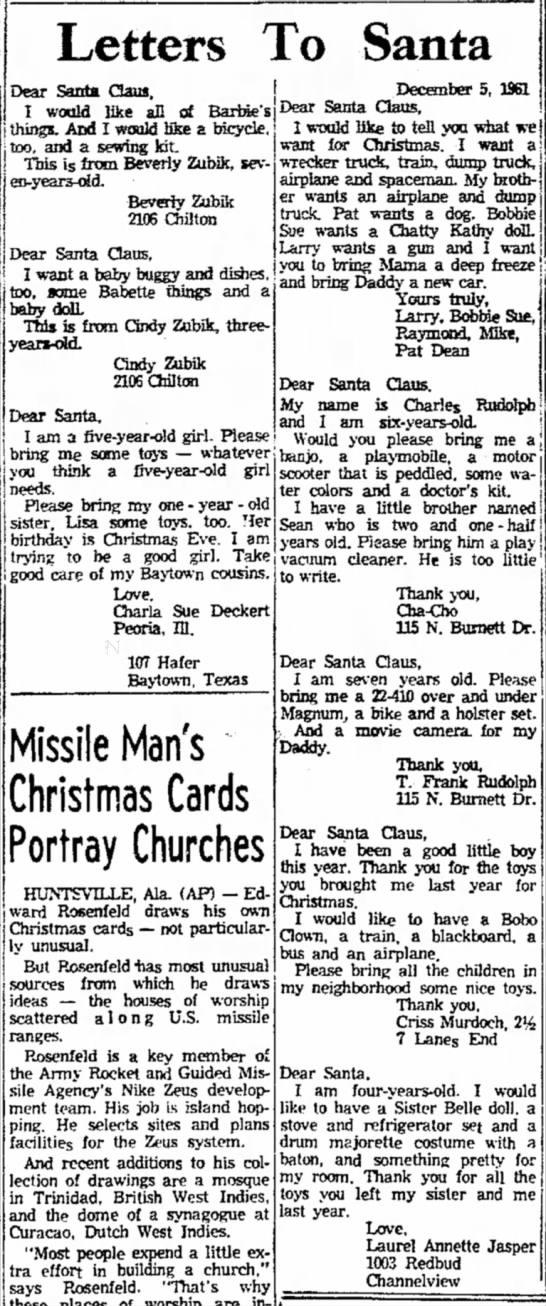 Beverly and Cindy's Letters to Santa -