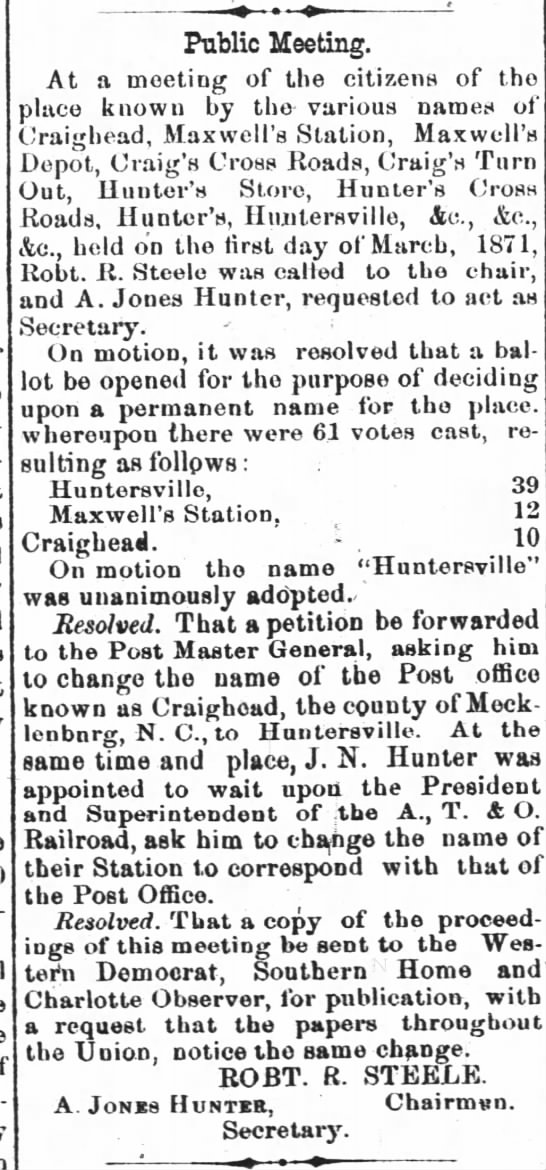 Huntersville name vote -