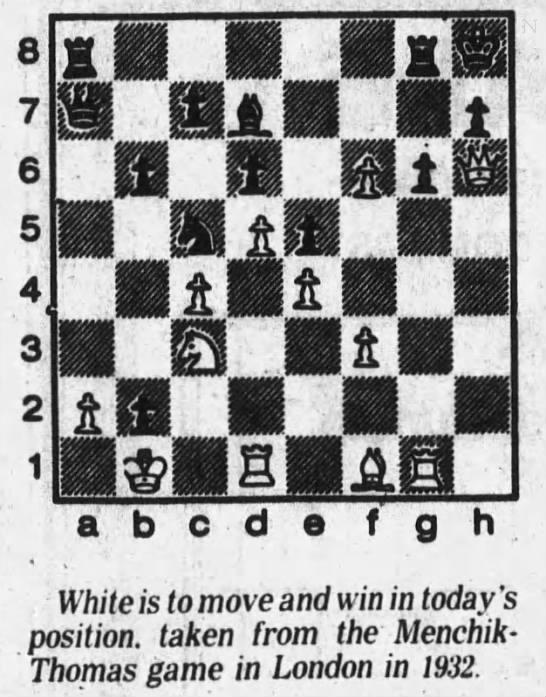 """""""Menchik Mate"""" from Menchik-Thomas chess game, London 1932 -"""
