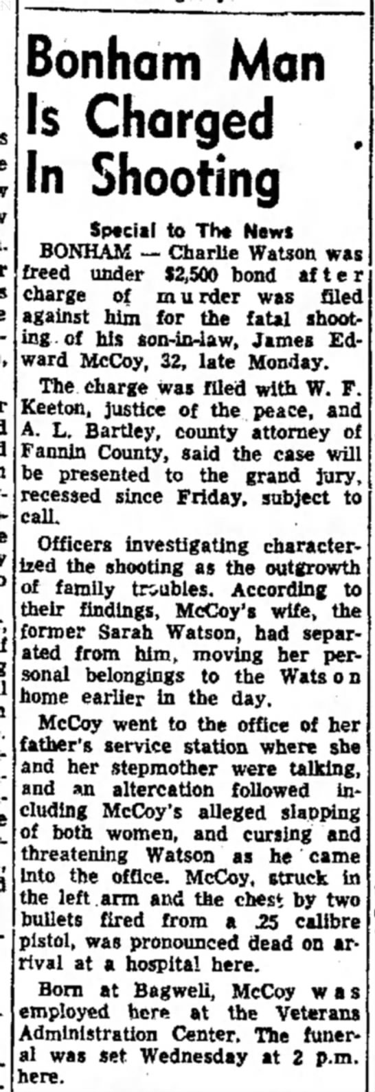 The Paris News (Paris TX) Jan 20, 1954, Charlie Watson shoots son in law -