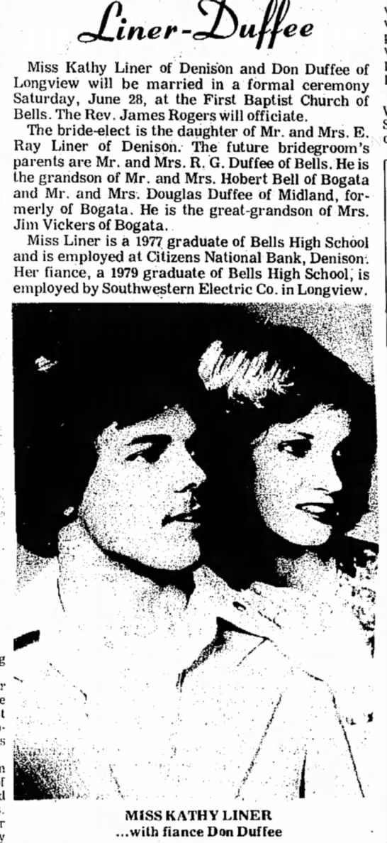 - ee Miss Kathy Liner of Denison and Don Duffee...